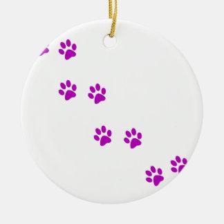 かわいい紫色のpawprints セラミックオーナメント