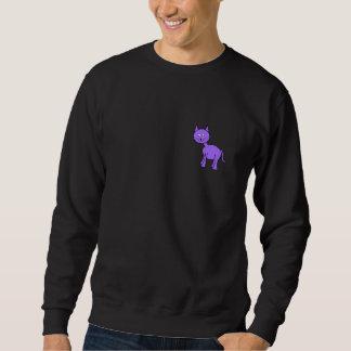 かわいい紫色猫。 黒の猫の漫画 スウェットシャツ