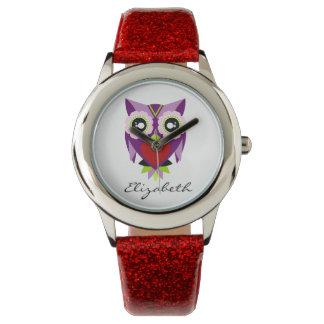 かわいい紫色、緑及び赤いフクロウのグリッターの腕時計 ウォッチ