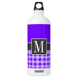 かわいい紫色; 電気インディゴのギンガム ウォーターボトル