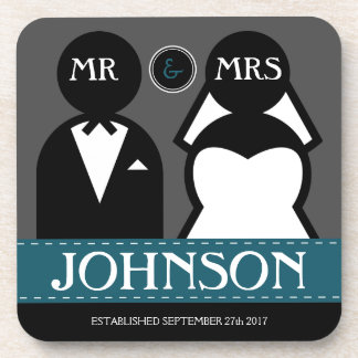 かわいい結婚式のカップル氏および夫人 ビバレッジコースター