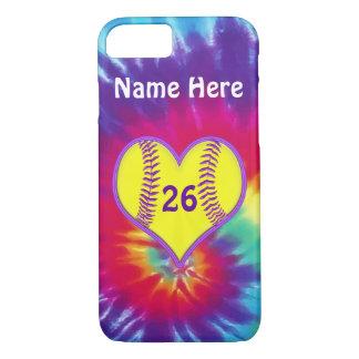 かわいい絞り染めのソフトボールの電話は名前入り包装します iPhone 8/7ケース