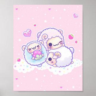 かわいい綿菓子のヒツジ ポスター