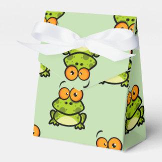 かわいい緑およびオレンジ漫画のカエルパターン フェイバーボックス