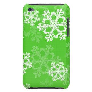 かわいい緑およびホワイトクリスマスの雪片 Case-Mate iPod TOUCH ケース