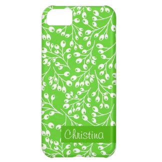 かわいい緑および白い秋の果実 iPhone5Cケース