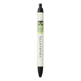 かわいい緑のお洒落なフクロウ 黒ボールペン