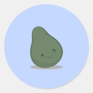 かわいい緑のアボカドのステッカー ラウンドシール