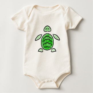 かわいい緑のウミガメ ベビーボディスーツ