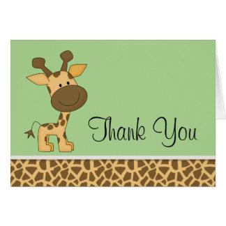 かわいい緑のキリンは感謝していしています カード
