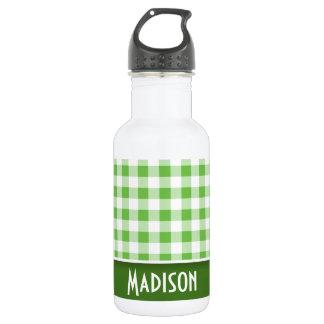 かわいい緑のギンガム ウォーターボトル