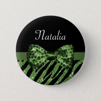 かわいい緑のシマウマのプリントの名前の模造のな輝きの弓 5.7CM 丸型バッジ