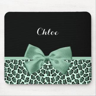 かわいい緑のジャガーのプリントのガーリーなヒスイの弓および名前 マウスパッド
