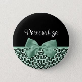 かわいい緑のジャガーのプリントのガーリーなヒスイの弓および名前 5.7CM 丸型バッジ