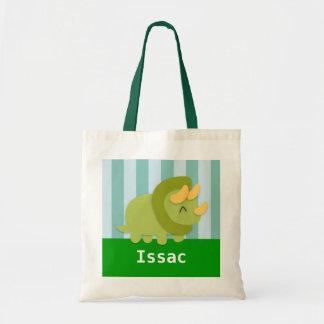 かわいい緑のトリケラトプスの恐竜はトートバックをからかいます トートバッグ
