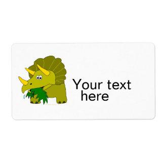 かわいい緑のトリケラトプスの漫画の恐竜 ラベル
