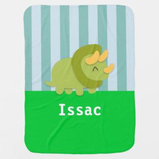 かわいい緑のトリケラトプスの男の赤ちゃん毛布 ベビー ブランケット