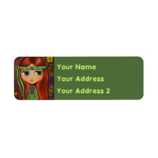 かわいい緑のピースサインの素晴しいヒッピーの女の子 ラベル