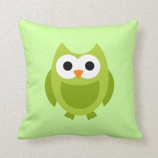 かわいい緑のフクロウの鳥の枕 クッション