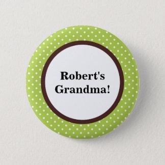 かわいい緑のブラウンの白い水玉模様の祖母ボタン 5.7CM 丸型バッジ