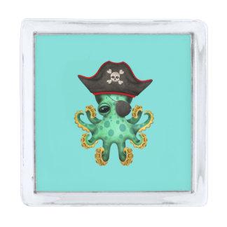 かわいい緑のベビーのタコの海賊 銀色 ラペルピン