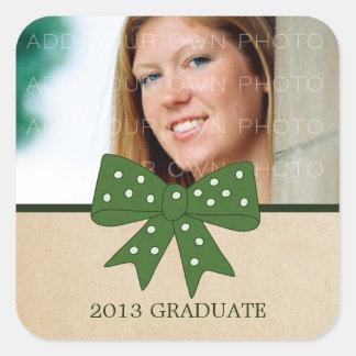 かわいい緑の弓卒業のステッカー スクエアシール