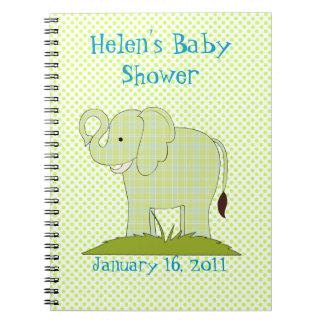 かわいい緑の格子縞象のベビーシャワーのノート ノートブック