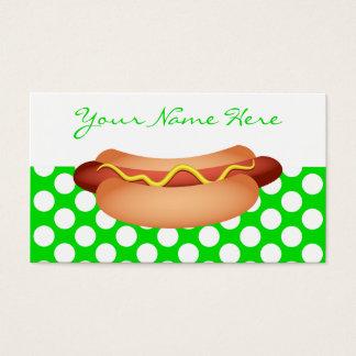 かわいい緑の水玉模様及び風味がよいホットドッグの軽食のデザイン 名刺