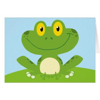 かわいい緑の漫画のカエルのホップの豊富な誕生日 カード