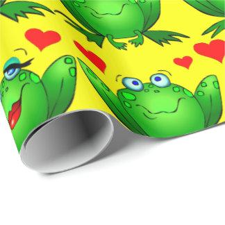 かわいい緑の漫画のカエル愛ハートの黄色 ラッピングペーパー