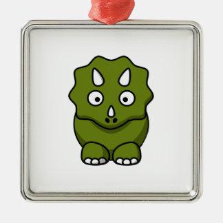 かわいい緑の漫画の恐竜 メタルオーナメント