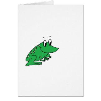 かわいい緑カエルのスケッチ カード