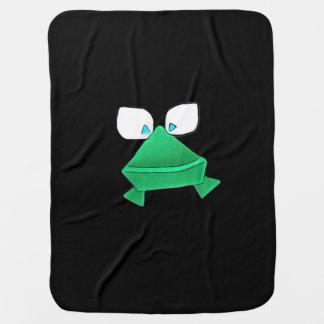 かわいい緑カエルの黒のベビーブランケット ベビー ブランケット