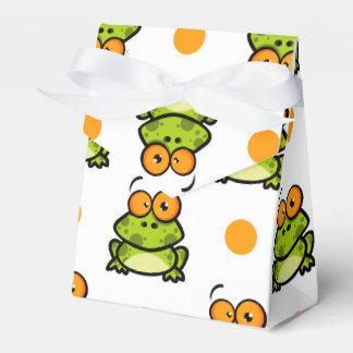 かわいい緑カエルの、オレンジ及び白い水玉模様 フェイバーボックス