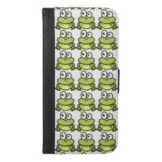 かわいい緑カエルは彼の舌を突き出ています iPhone 6/6S PLUS ウォレットケース
