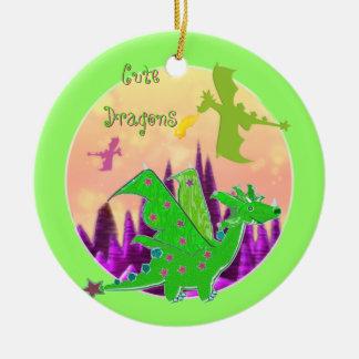 かわいい緑ドラゴン セラミックオーナメント