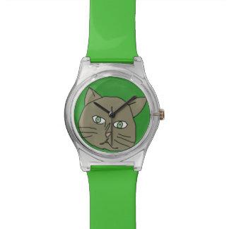 かわいい緑猫の時間 腕時計