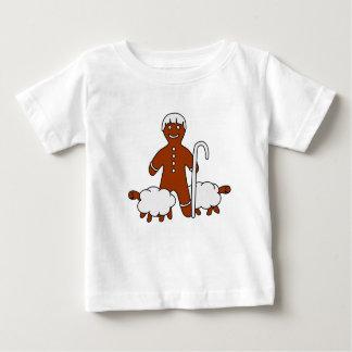 かわいい羊飼いおよびヒツジ-ベビーのTシャツ ベビーTシャツ