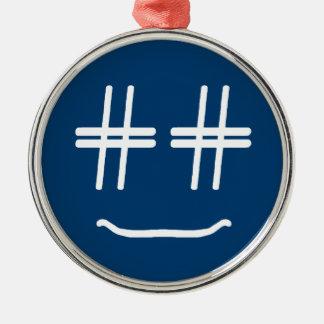 かわいい色# Hashtagのスマイリーフェイスを選んで下さい シルバーカラー丸型オーナメント