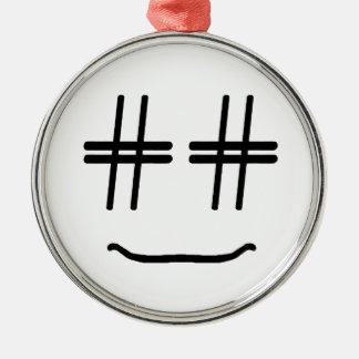 かわいい色# Hashtagのスマイリーフェイスを選んで下さい メタルオーナメント