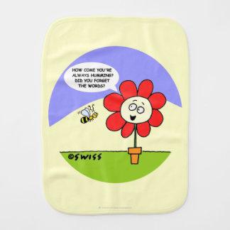 かわいい花および蜂の漫画の歌うベビー バープクロス