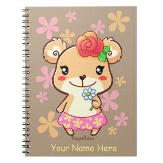 かわいい花くまの螺線形ノート ノートブック