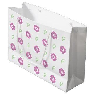 かわいい花のギフトバッグ ラージペーパーバッグ