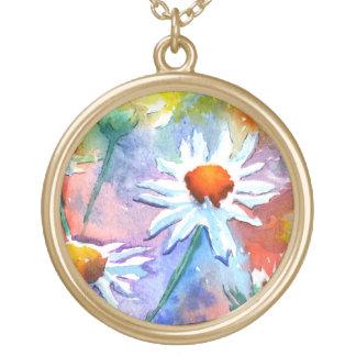 かわいい花のデイジーの水彩画のペンダントのネックレス ゴールドプレートネックレス
