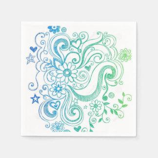 かわいい花のデザイン スタンダードカクテルナプキン