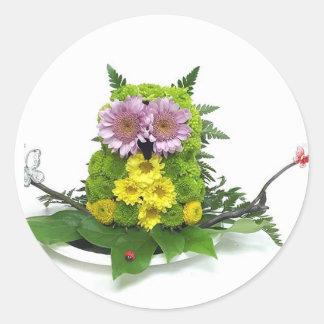 かわいい花のフクロウ ラウンドシール
