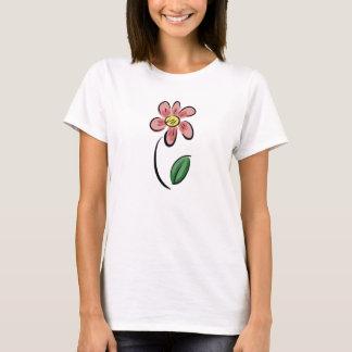 かわいい花の漫画の花のスケッチの落書き Tシャツ