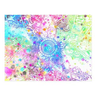 かわいい花のhennaの手描きのデザインの水彩画 はがき