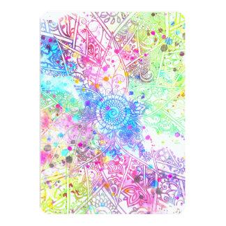 かわいい花のhennaの手描きのデザインの水彩画 カード