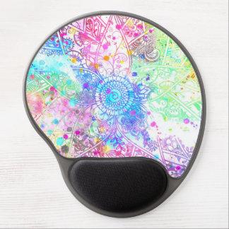 かわいい花のhennaの手描きのデザインの水彩画 ジェルマウスパッド